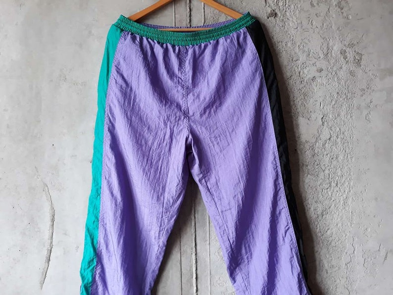 Vintage windbreaker pants women 90s Track pants women large 90s Nylon pants  mens medium 90s sportswear Hip Hop Style ... 10045bb65