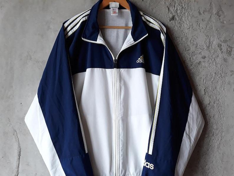Adidas Met Drie VintageEtsy Strepen Windbreaker 90s TJc3lFK1