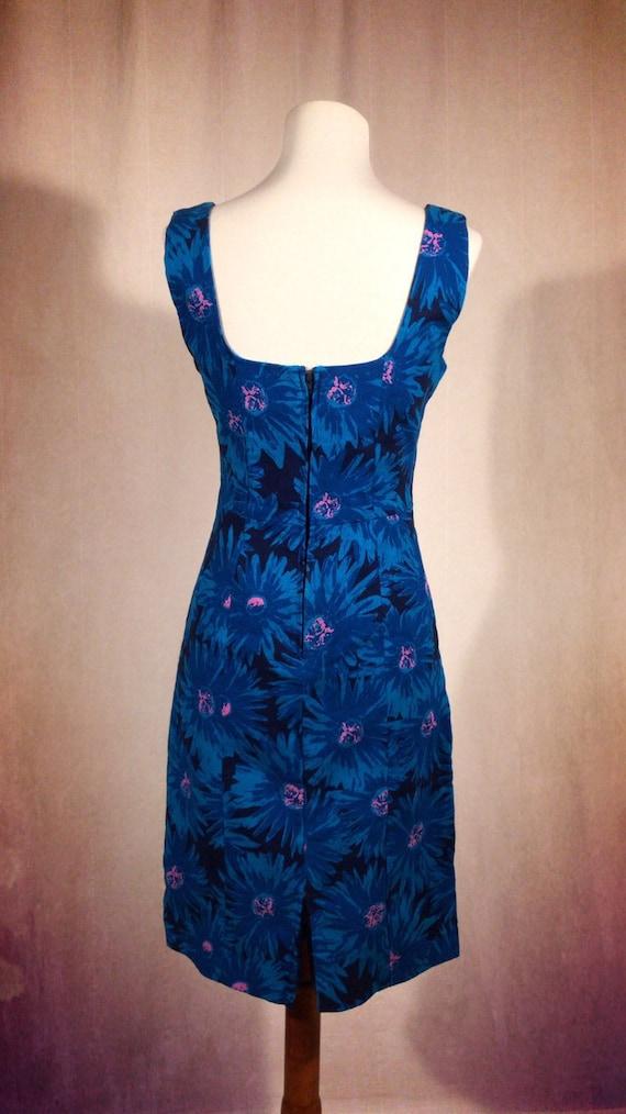 1980's Blue Floral Dress - image 2