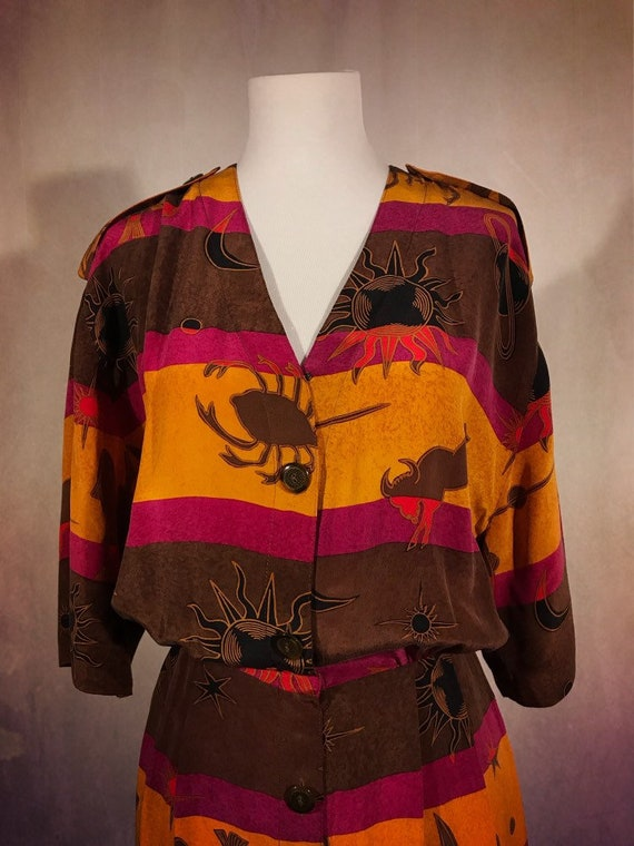 Vintage 1970s Multicolor Celestial Zodiac Dress