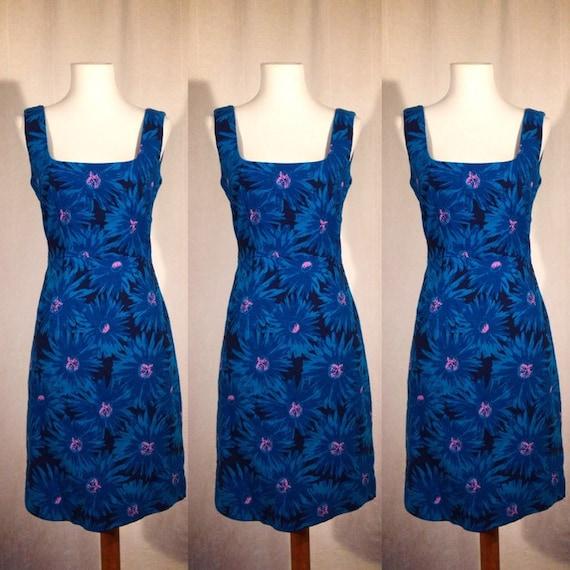 1980's Blue Floral Dress