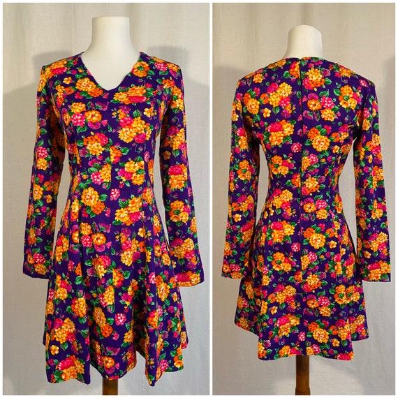 Vintage 1970s Handmade Floral Skater Dress