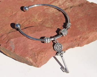 Silver Bracelet Bangle 'Ancient Key'