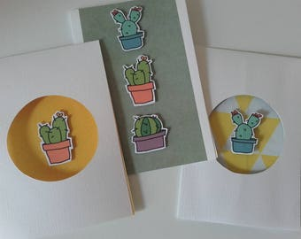 Lot de 3 cartes cactus