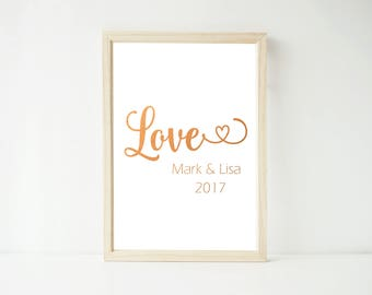 Real Foil Print - Love Personalized, Poster Prints, Wedding Home Decor Wall Art, Gold, Gopper, Rose Gold, Silver