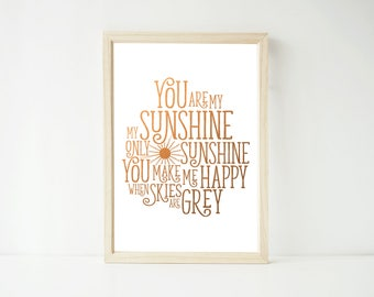 Real Foil Print - You are My Sunshine Poster Prints, Nursery Art, Kids Wall Art Decor, Three Foil Colors Gold Copper and Silver