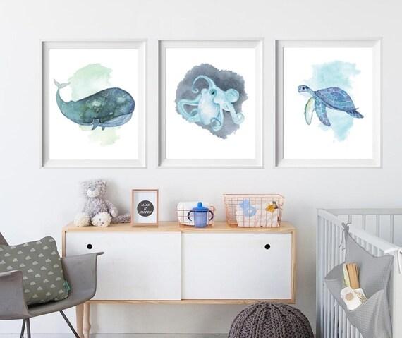 Ocean decor Whale nursery wall art Watercolor whale Sea animal nursery prints Nursery print set of 3