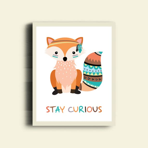 FOX Print, Stay Curious, Tribal Animal Art, Neutral Nursery Wall Art, Tribal Fox Nursery Decor, Cute Fox, Tribal Art Kids Room Poster, Fox