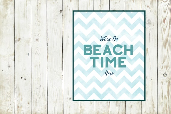 Beach Time, Summer Print, Blue Chevron, Art Print, Waves Print, Ocean Themed Wall Decor, Summer Vacation, Beach House Poster, Digital Print
