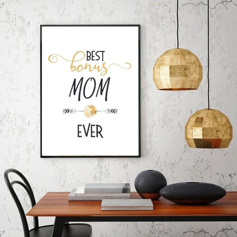 Best Bonus MOM ever Gold typographic poster mom poster Step mom gift Mothers day gift Godmother gift Adopting mother