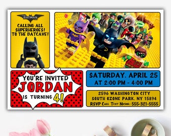 Lego Batman Invitations, Lego Batman Invitation, Lego Batman Birthday, Lego Batman Party, Lego Batman Birthday Invitation, Batman Invitation
