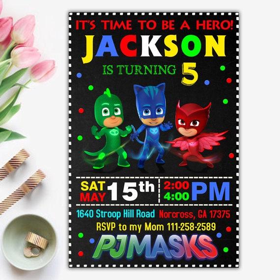 Pj Masks Invitation Birthday