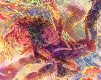 """Deku, Uravity, & Bakugo 18""""x12"""" Poster, My Hero Academia, Midoriya Izuku, Uraraka Ochaco, Katsuki Bakugo, Anime Art, Signed Print"""