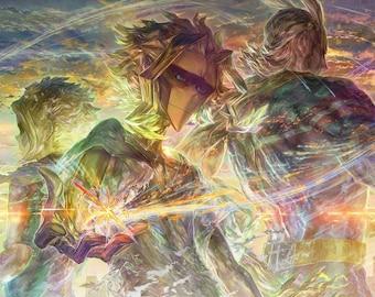 "All Might 18""x12"" Poster, Toshinori Yagi (八木俊典) From My Hero Academia, Superhero Anime Art, Signed Print"
