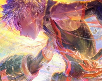 "Katsuki Bakugo 18""x12"" Poster, My Hero Academia, 爆豪勝己, Anime Art, Signed Print"
