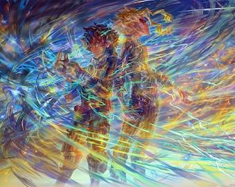 """Deku And All Might 18""""x12"""" Poster, My Hero Academia, Midoriya Izuku (緑谷出久), Toshinori Yagi (八木俊典), Anime Art, Signed Print"""