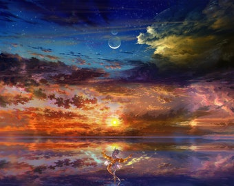"Fantasy Sunset 18""x12"" Poster, Magical Sunrise Ocean, Original Art, Sun And Moon, Anime Dragon Girl In Nature, Signed Print"