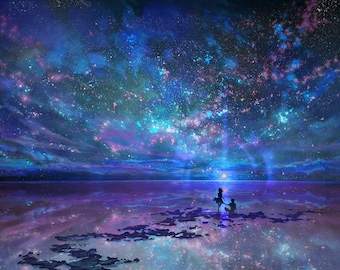 """Soulmates 18""""x12"""" Poster, Galaxy Ocean, Starry Night, Love And Romance, Space Fantasy Art, Signed Print"""
