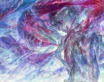 "Kaneki Ken 18""x12"" Art Print, Tokyo Ghoul Re, 金木研, 東京喰種, Horror Sci-Fi Anime, Supernatural Fantasy, Signed Poster"