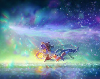 """OneShot 18""""x12"""" Poster, Niko And Rue, Starry Aurora Fantasy Video Game Art, Cat And Fox, Signed Print"""
