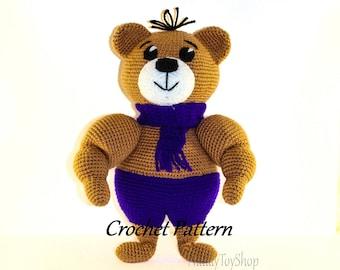 Crochet pattern bear toy Amigurumi pattern bear animal pdf Instant Download Toy bear athlete easy instruction