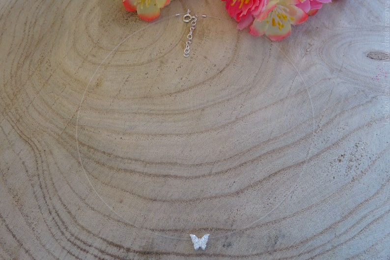 Small Butterfly rhinestone Silver 925 transparent Nylon cord Choker necklace the