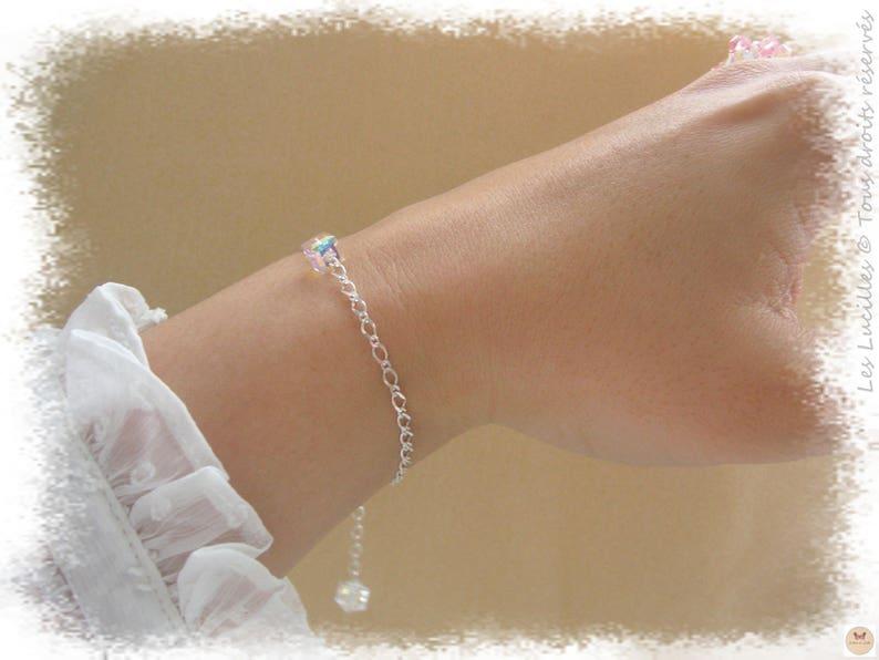 Sarotta Strass Cristal Aigue-marine Tennis Bracelet Extended Fermoir