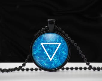Water Element Symbol Pendant - Water necklace - Element jewelry - A0001