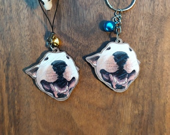 Keychain, Charm or Strap of a White Bull Terrier Dog watercolor portrait printed on wood