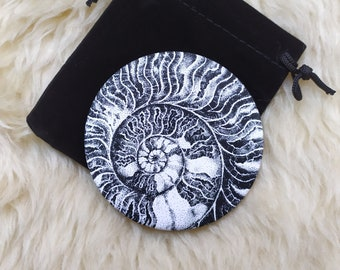 Crystallized Ammonite dotwork ink drawing Illustration on Pocket mirror with its free pouch