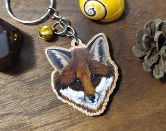 Keychain, Charm or Strap of a Fox watercolor portrait printed on wood