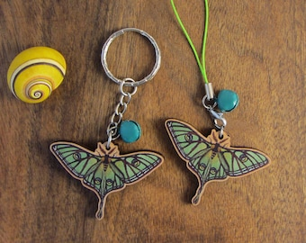 Keychain, Charm or Strap of a Spanish Moon moth printed on wood