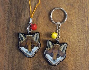 Keychain - Charm - Strap - Fox head