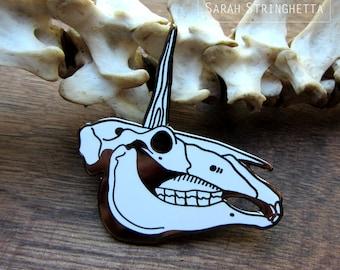 The Fallen Unicorn - Unicorn Skull Enamel Pin