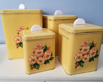 Mid century Yellow metal Canisters