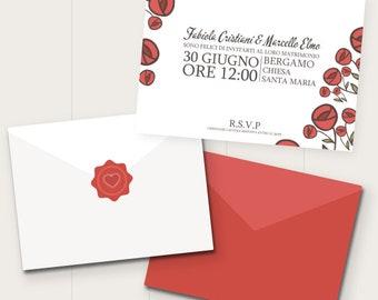 PARTECIPAZIONI di nozze Rose| roseto | red | rosso | Matrimonio romantico | natura| floreale  Inviti | Invitation | fiori