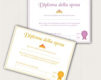 DIPLOMA ADDIO al NUBILATO | Idee Regalo per spose | Bridal Shower | Stampabile | Regalo addio al nubilato | Pdf