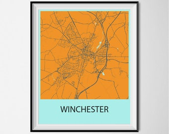 Winchester Map Poster Print - Orange and Blue