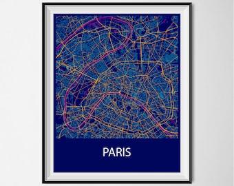 Paris Map Poster Print - Night
