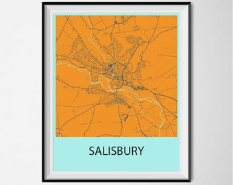 Salisbury Map Poster Print - Orange and Blue