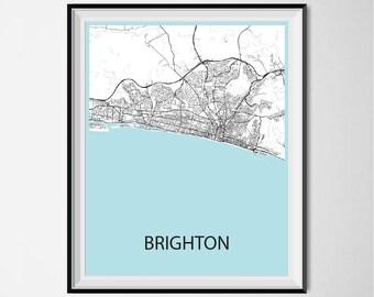 Brighton Map Poster Print - Black and White