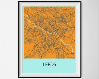 Leeds Map Poster Print - Orange and Blue