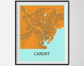 Cardiff Map Poster Print - Orange and Blue