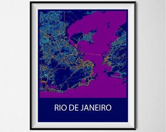 Rio de Janeiro Map Poster Print - Night