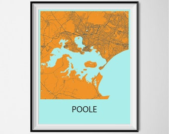 Poole Map Poster Print - Orange and Blue