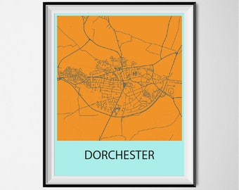 Dorchester Map Poster Print - Orange and Blue