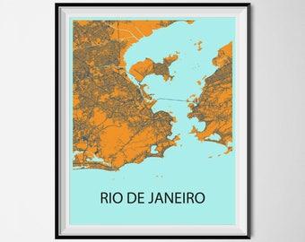 Rio de Janeiro Map Poster Print - Orange and Blue