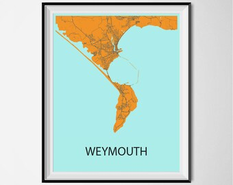 Weymouth Map Poster Print - Orange and Blue