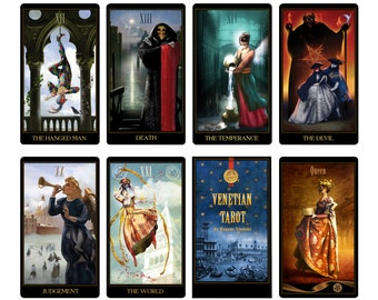 Venetian Tarot Deck Divination Tarot Cards Unique Illustrated Occult Cards for Tarot Reading Inspired by History of the Venetian Carnival