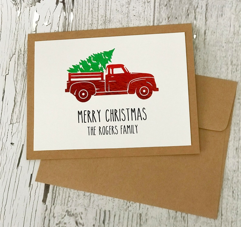Vintage Red Truck Christmas Card  Rae Dunn Inspired Red Truck image 0